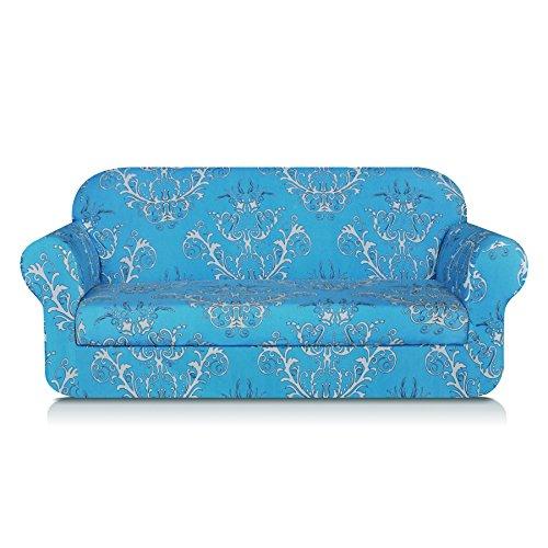 TIKAMI 2-Piece Spandex Printed Fit Stretch Sofa Slipcovers (Sofa, Blue)