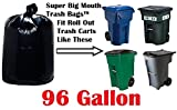 96 Gallon Super Big Mouth Trash Bags 30-Pack Plus 3 Free Rubber Tie Down Bands