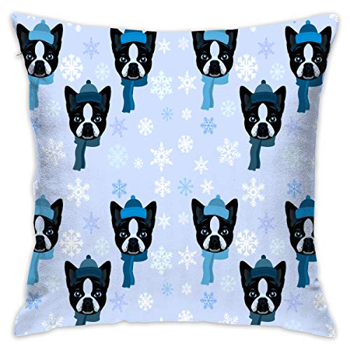 - 18 X 18 Inches Boston Terrier Scarf Throw Pillow Covers Cases With Pillow Insert Bedroom Home Decor
