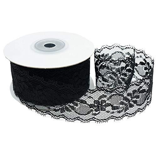 Black Ribbon Lace - CT CRAFT LLC Delicate Black Lace Ribbon, 1.5