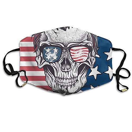 Human Skull With Sunglasses USA Flag Unisex Face Mouth Mask Ear-loop Anti-dust Mask Cycling Reusable Mask