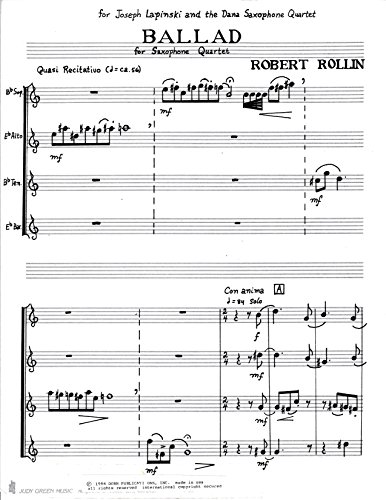 Ballad & Samba for Saxophone Quartet by Robert Rollin