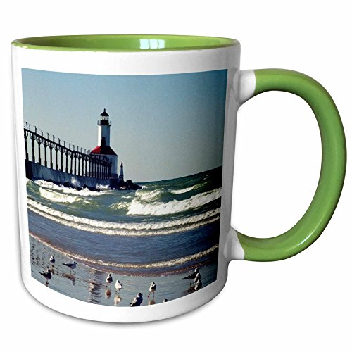 3dRose Danita Delimont - Lighthouses - USA, Indiana, Indiana Dunes State Park Lighthouse - US15 AMI0255 - Anna Miller - 11oz Two-Tone Green Mug - Lighthouse Indiana Outlet