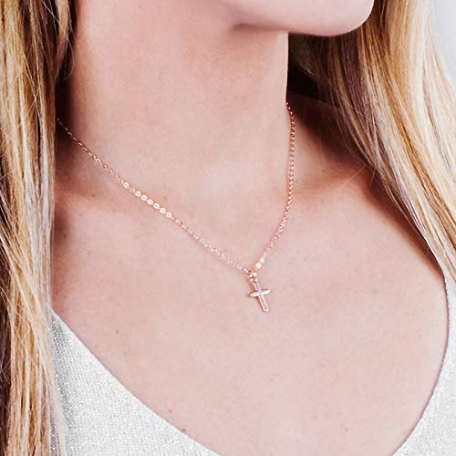 Small Rose Gold Cross Necklace - Designer Handmade Simple Christian Jewelry - 16 + 2 inch -