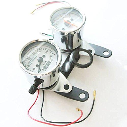 JRL Universal Gauge Motorcycle Dual Odometer Tachometer W Bracket Speedometer Set by JRL