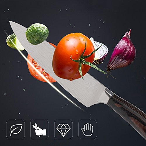 """8"""" Pro Chef's Knife, Japanese Gyutou Knife High Carbon Stainless Steel Kitchen Knife with Ergonomic Handle, Free Cut Resistant Gloves"""