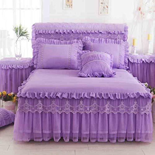 YURASIKU Princess Lace Bed Skirt Romantic Ruffle Bed Coverlet Soft Polyeste Bedding for Girls Full Queen Size Wedding Bedroom Decor (Target Teal Bedding)