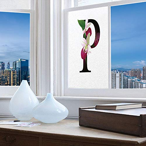 ALUONI Frosted Window Film Stained Glass Window Film,Letter P,Work Well in The Bathroom,Lady Slipper Flower with Dark Colored Letter P,24''x48''