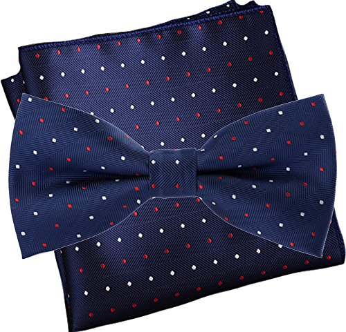 Flairs New York Polka Dots Collection Bow Tie & Pocket Square Matching Set (Prussian Blue / Red / White [Mini Polka Dots])