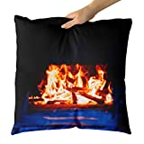 Westlake Art - Fire Fireplace - Decorative Throw Pillow Cushion - Picture Photography Artwork Home Decor Living Room - 18x18 Inch (E878-AD99C)