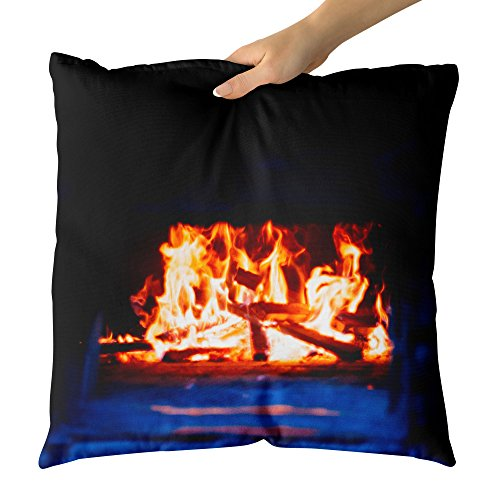 Westlake Art - Fire Fireplace - Decorative Throw Pillow Cushion - Picture Photography Artwork Home Decor Living Room - 18x18 Inch (E878-AD99C) by Westlake Art