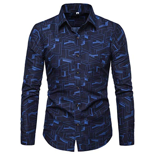 Stoota Men's Printed Long Sleeve Slim Fit Comfortable Shirt Top Blouse Blue