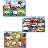 Melissa & Doug Vehicle and Construction Peg Puzzle Bundle, 3-Pack