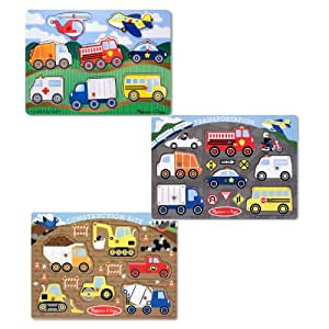 Melissa & Doug Wooden Peg Puzzles Set - Construction Site, Transportation, and Vehicles
