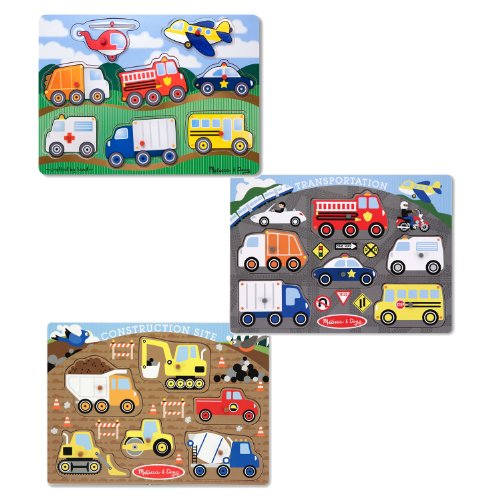 Melissa & Doug Wooden Peg Puzzles Set - Construction Site, Transportation, and Vehicles - Peg Puzzle Set
