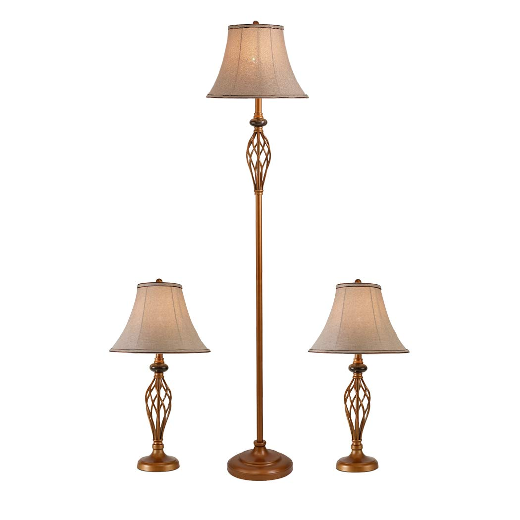 """Three Pack Lamp Set (2 Table Lamps, 1 Floor Lamp), 3-Piece Floor and Table Lamp Set, Traditional Bronze Table Lamps for Bedroom and Living Room, 26.5 and 60.5"""" (H)"""