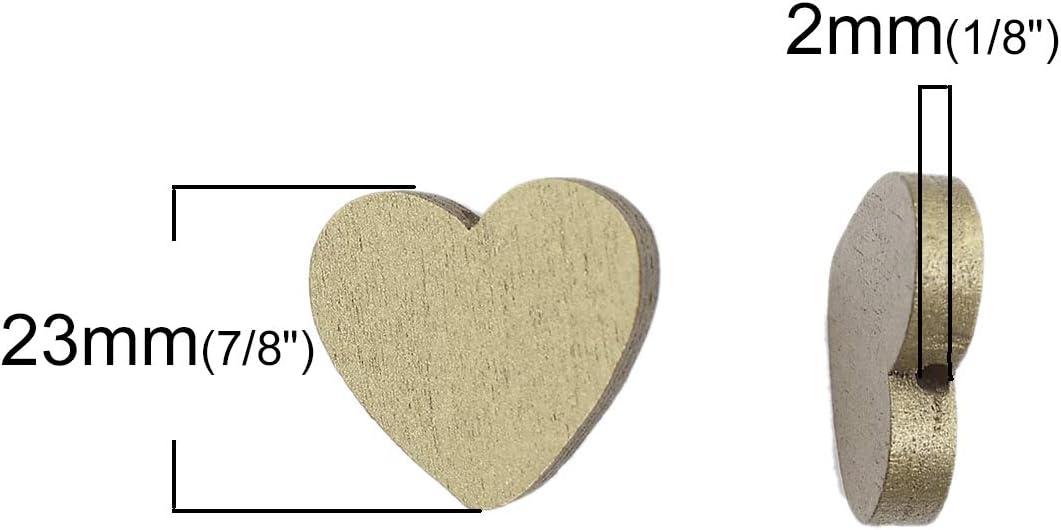 Herz Goldfarben SiAura Material 10 St/ück Holzperlen 21x23mm mit 2mm Loch