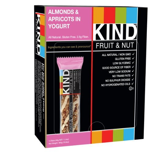 KIND Bars, Almonds & Apricot in Yogurt, Gluten Free, 1.4 Ounce Bars, 12 Count (Apricot Yogurt Bars)