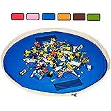 Block Bag Toy Storage Activity Play Mat Lego Organiser Large 60 inch Soft Cotton (Blue)