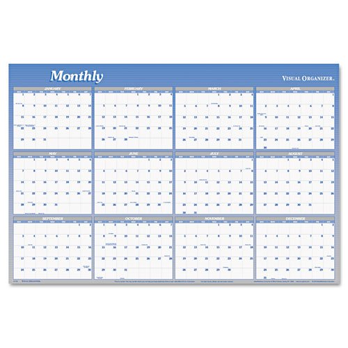 """At-A-Glance Erasable Wall Calendar,w/Marker,Jan-Dec,2-Sided,48""""x32"""",Blue (A1152) -  At-A-Glance Products"""