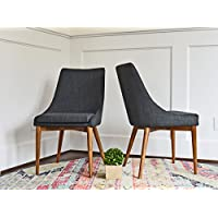 Upholstered Dining Chairs - Mid Century Modern Dining Room Chairs - Set of 2 - Dark Grey Fabric - Solid Wooden Legs - EDLOE FINCH