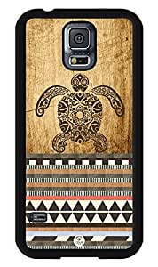 iZERCASE Samsung Galaxy S5 Case Turtle Aztec on Wood RUBBER - Fits Samsung Galaxy S5 T-Mobile, AT&T, Sprint, Verizon and International