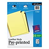 Avery 11352 Black Leather Tab Dividers, 1-31 Tabs, 8.5 x 11, Buff, 31 Tabs/Set