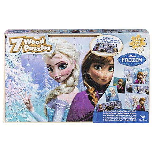 Disney Frozen 7 Wood Puzzles In Wooden Storage Box (styles will ()