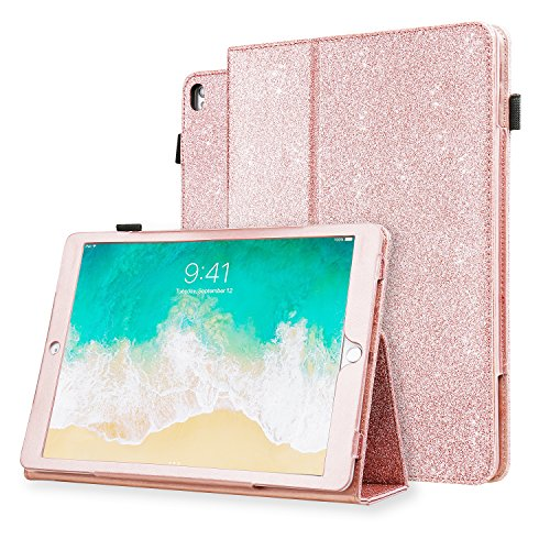 iPad Pro 10.5 Case, Karidge Glitter Bling Premium PU Leather Folding Slim Cover with Viewing Angles Stand Pencil Holder Hand Strap Protective Case for Apple iPad Pro 10.5 inch 2017 Case, Rose - Vinyl Folding Case