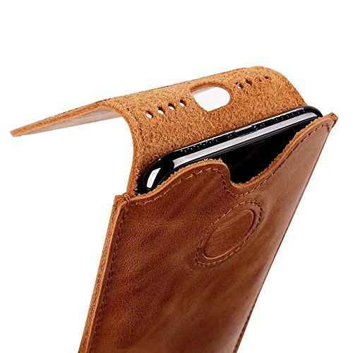 iPhone X Leather Case Sleeve TOOVREN Genuine Leather Protective Ultra Rugged Holster Phone Pouch Carrying Bag for Apple iPhone X/10 (2017) Brown by TOOVREN