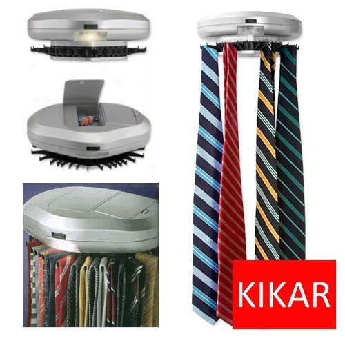 KIKAR Electric Motorised Tie Rack | Wall Mounted Tie/ Belt/ Scarf Organizer by KIKAR