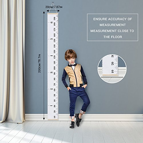 AUKUK Baby Height Growth Chart Ruler Kids Roll-up Canvas Height Chart Removable Wall Hanging Measurement Chart Wall Decor with Wood Frame for Kids Nursery Room,Easy to use for long-term (79'' X 7.9'') by AUKUK (Image #5)
