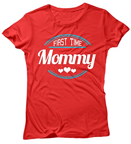 Camiseta Mujer First Time Mommy - Camiseta divertida Madre 100% algodòn LaMAGLIERIA Rosso