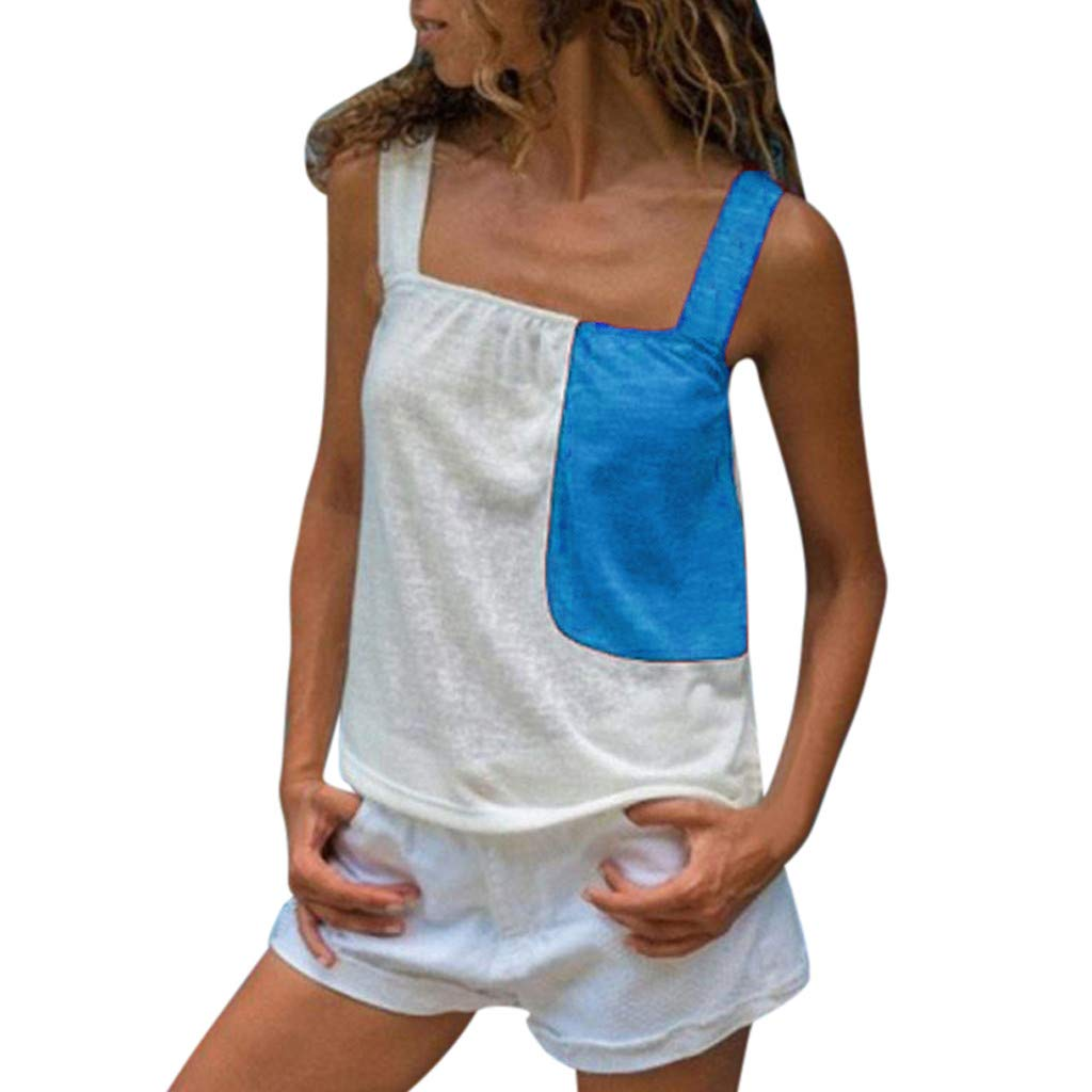 Bohelly Selling Women's Summer Contrast Stitching Sexy Sleeveless Strap Casual Camis Vest Short Sleeve Blue