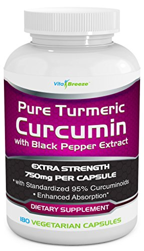 Turmeric Curcumin Complex with Black Pepper Extract – 750mg per Capsule, 180 Veg. Caps – Contains Piperine (For Superior Absorption and Tumeric Bio-availability) and 95% Standardized Curcuminoids