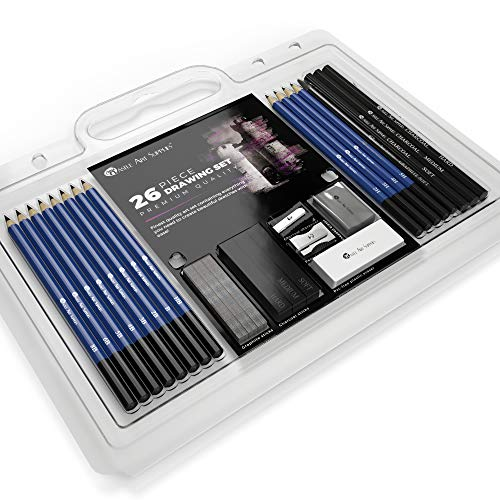 Castle Art Supplies 26 Piece Drawing and Sketching Pencil Art Set: Perfect for Beginners, Kids or Any Aspiring Artist - Includes Graphite Pencils and Sticks, Charcoal Pencils, Erasers and - Supplies Drawing Art