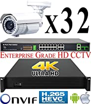 USG 8MP Ultra 4K 32 Camera Security System PoE IP CCTV Kit: 32x 5MP IP PoE 2.8-12mm Bullet Cameras + 1x 36 Channel H.265 8MP NVR + 2x 18 Port PoE Switch + 2x 4TB HDD * View Remotely On Phone