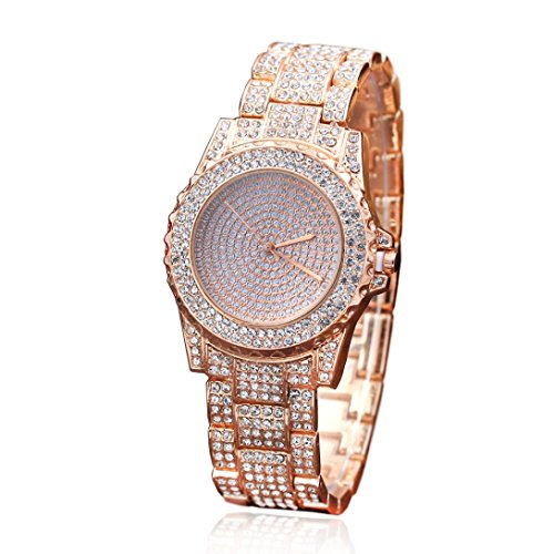 Female Luxury Watches,SINMA Fashion Full Diamond Sand Drill Surface Wristwatch Analog Quartz Wrist Watch (Rose Gold)