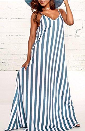 Jaycargogo Rayures Femmes Sangle Spaghetti Poches Latérales V-cou Robes Maxi En Vrac Bleu