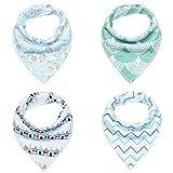 4Pcs/Lot Baby Cotton Bibs Kids Cute Printing Soft Bandana Baby Saliva Towels Newborn Triangle Scarf Infant Burp Cloths