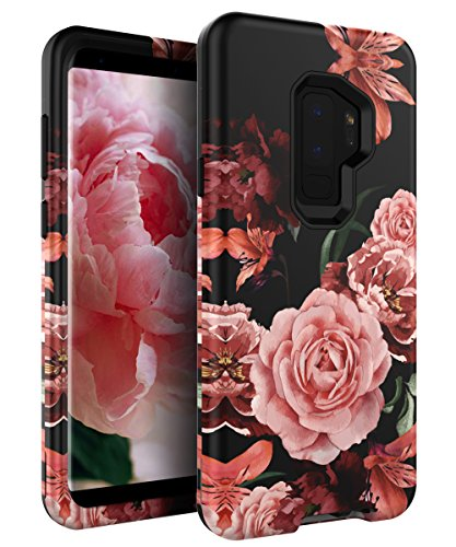 RabeMall Samsung Galaxy S9 Plus Case Unique Pretty Flowers for Girls/Women Anti-Fingerprint Three Layer High Impact Resistant Hybrid Shockproof Protective Cover,Floral Black