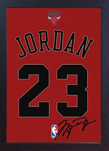 - Michael Jordan Chicago Bulls signed autograph printed on Canvas 100% cotton Framed print Autographed Photograph poster Jersey replica