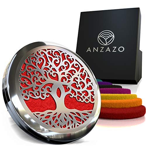 "Car Essential Oil Diffuser - 1.5"" Magnetic Locket Set with Air Vent Clip - Best for Aromatherapy - Fragrance Air Freshener, Scents Diffusers - Jewelry for Car, Tree of Life"