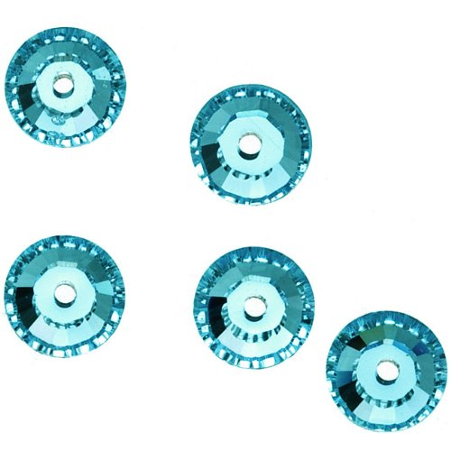 Swarovski Crystal, #3128 Round Sew-On Stones Center Hole 3mm, 50 Pieces, Light Turquoise F (Sew On Crystals Swarovski)