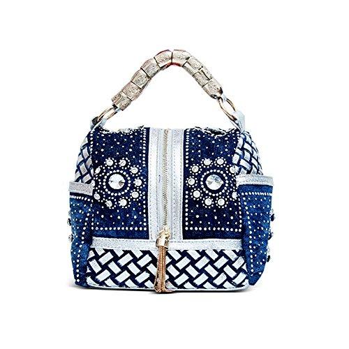Sibalasi-Original Denim Bag Weave Cowboy Handbags Floral Diamonds Shoulder Bag  Women Jeans Tassel Cross Body Bag (Silver jeans) ad956960d1e42