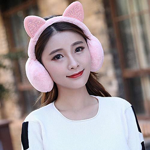 TDlmfRDi Winter Fashion Cute Soft Fluffy Novelty Girl Cat Warm Women Earmuffs EarLadies Rose