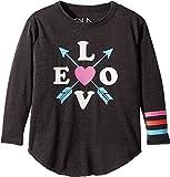 Chaser Kids Baby Girl's Vintage Jersey Love Arrows Tee (Toddler/Little Kids) Vintage Black 4 Tall