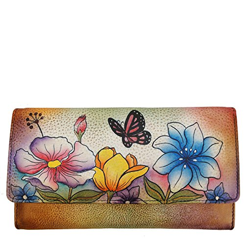 Anna By Anuschka, Handpainted Leather Checkbook Wallet/ Clutch,Floral Garden Wallet, Flg-Floral Garden, One Size