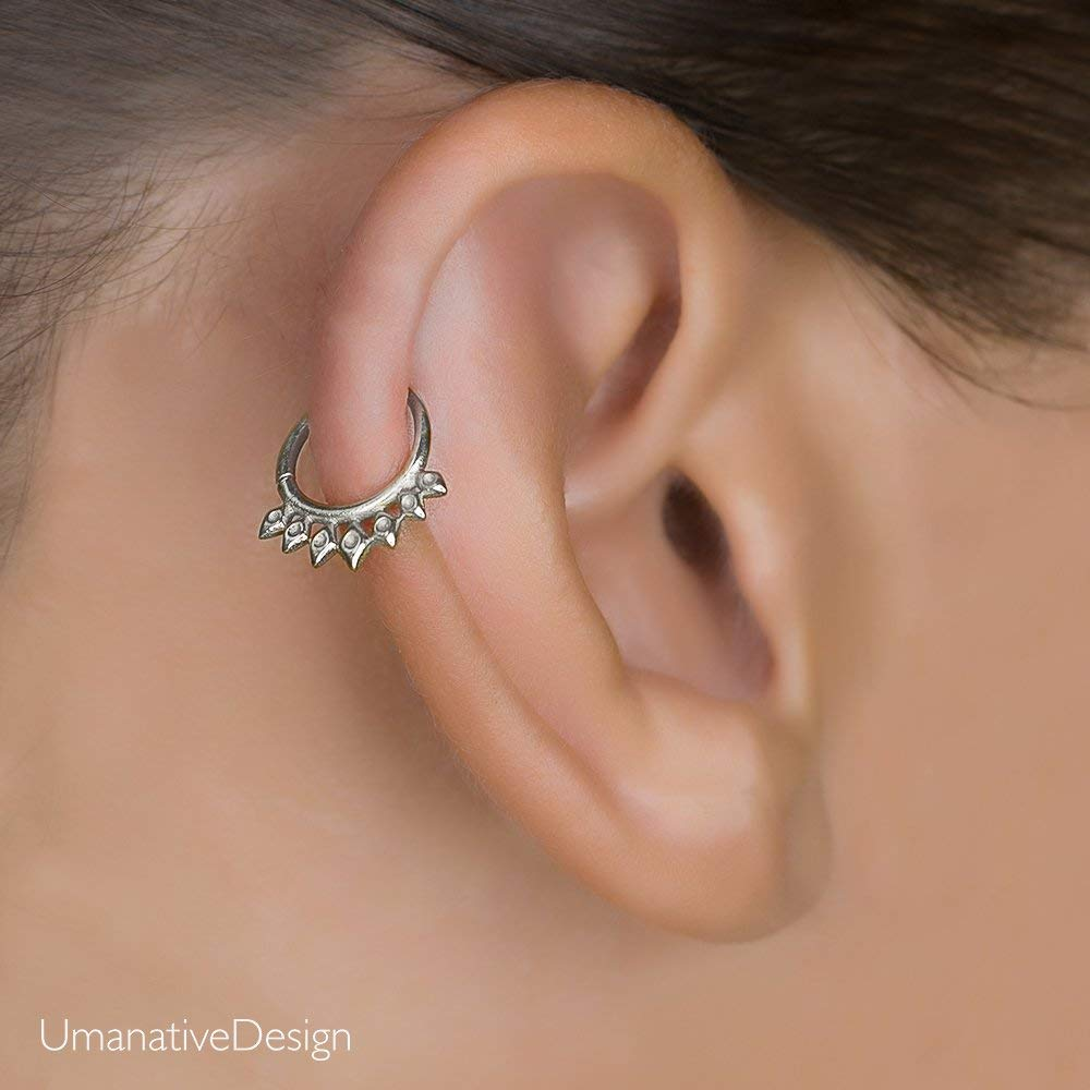 Sterling Silver Cartilage Earring, Tribal Indian Hoop Ring Piercing, Spikes shaped, fits Septum, Helix, Tragus, Daith, Rook, 16g, Handmade Jewelry