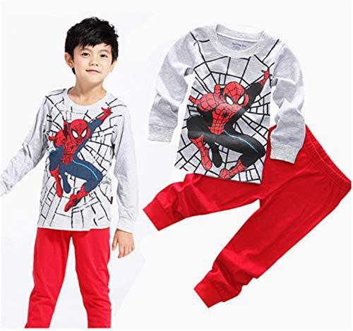 (Boys Pajamas Sets Children Christmas Pants 100% Cotton Spider-Man Long Kids Snug Fit Pjs Winter Toddler Sleepwear (Grey, 4T))
